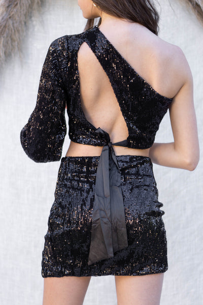 One Shoulder Sequins Top