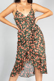 Autumn Floral Ruffle Long Dress