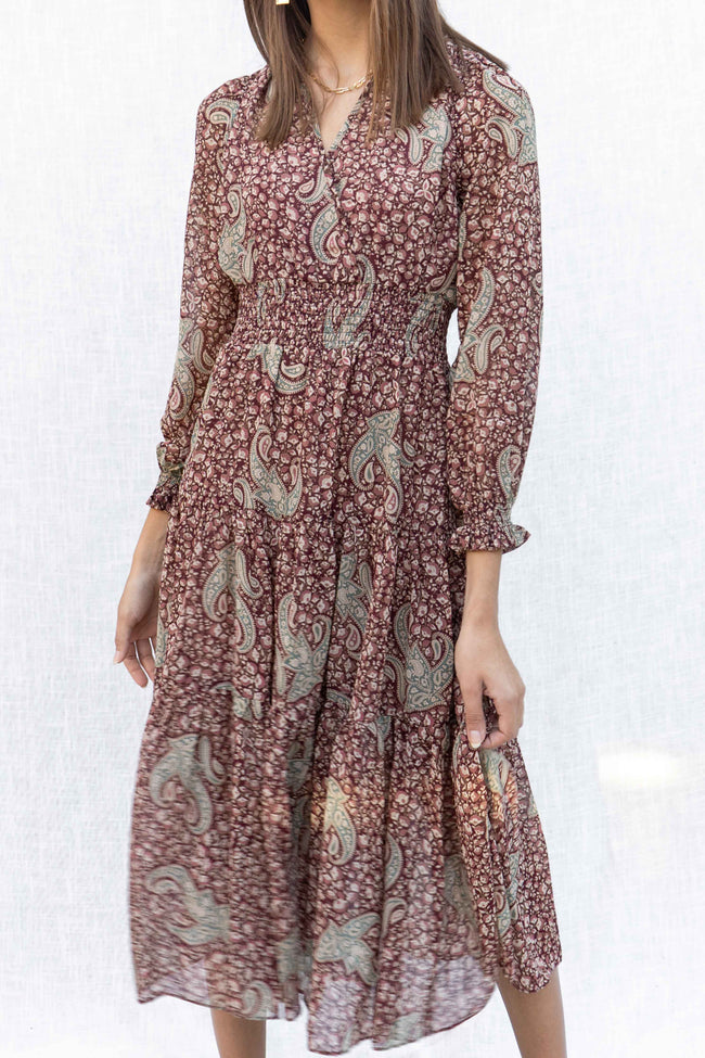 Aria Paisley Midi Dress