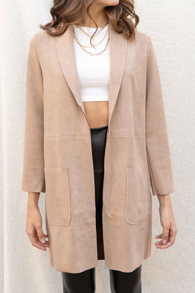 Faux Suede Pocketed Coat