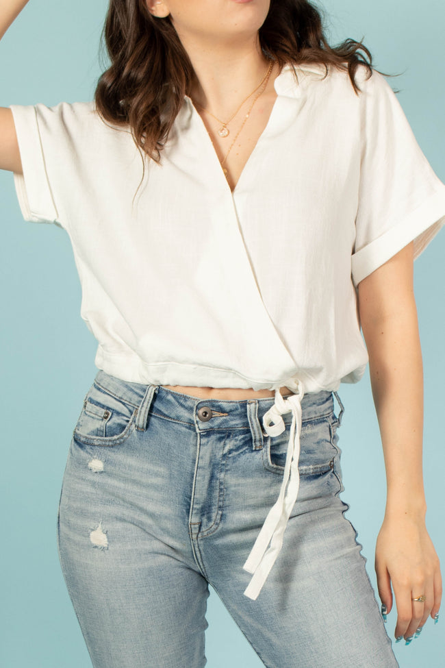 Talia Collared Wrap Front Top