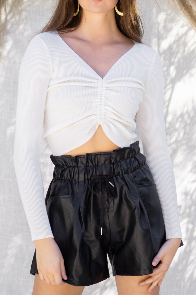 Ruched Drawstring Knit Top
