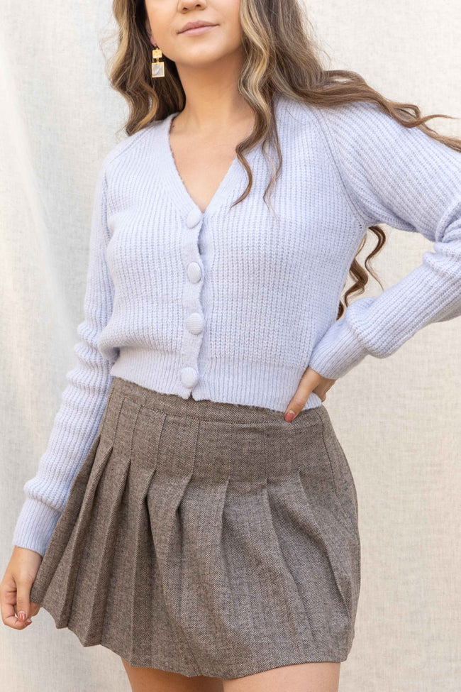 Dusty Blue Button Down Cardigan