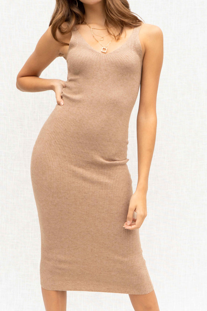 Making Moves Ribbed Midi Dress