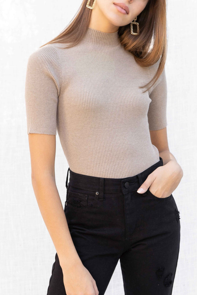 Celeste Mock Neck Ribbed Top