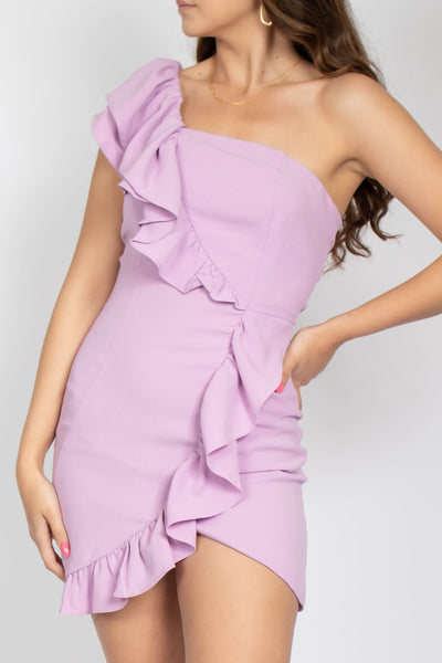 Violet Ruffle Shoulder Dress