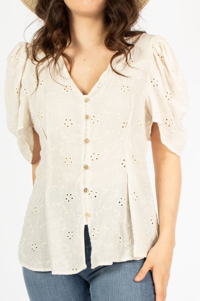 53956239 Puff Sleeve Button Down Blouse – lilyful.com