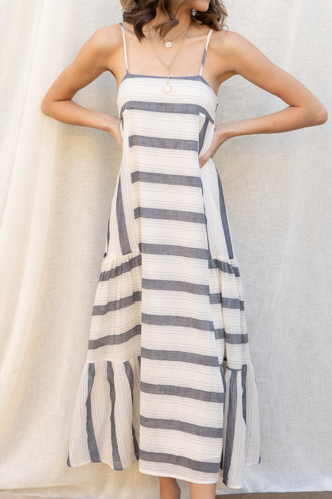 Maui Stripe Tiered Maxi Dress