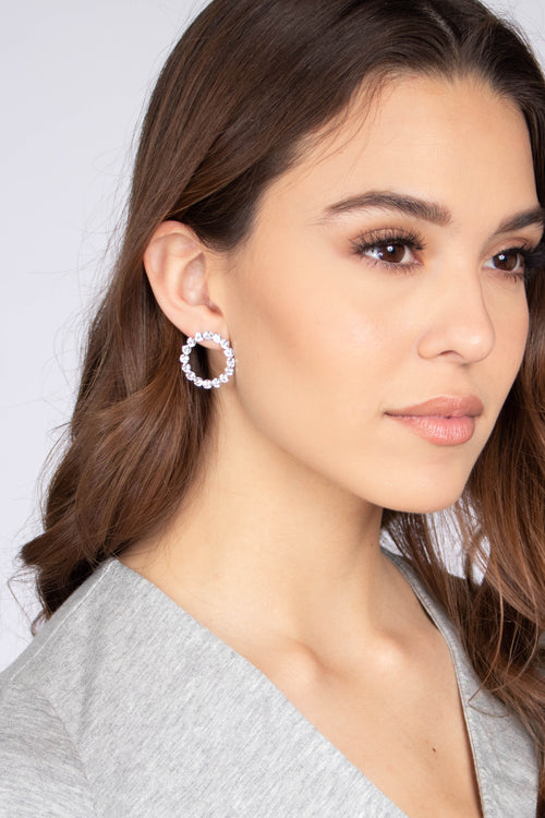 Small Circle Rhinestone Earrings