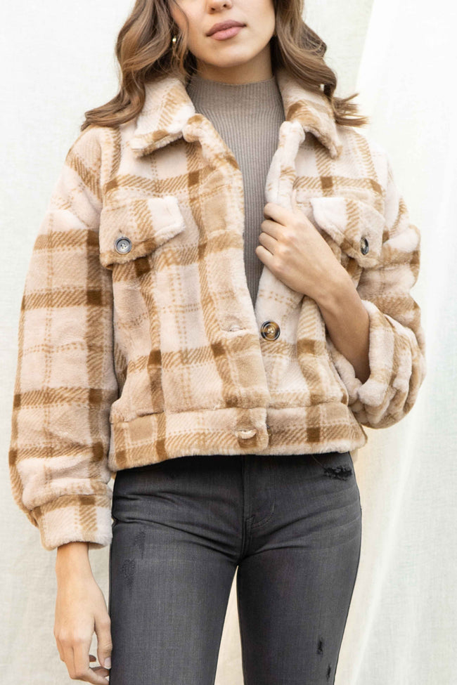 Faux Fur Plaid Oversized Jacket
