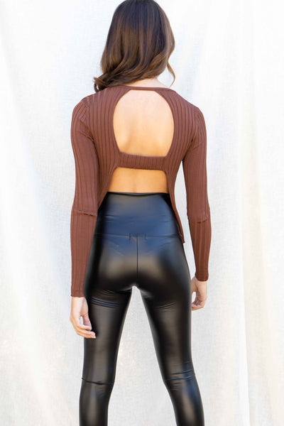 Makayla Ribbed Open Back Top