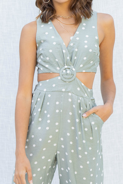 Polka Dot Cut Out Jumpsuit