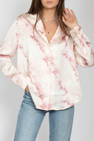 Tie Dye Long Sleeve Woven Top