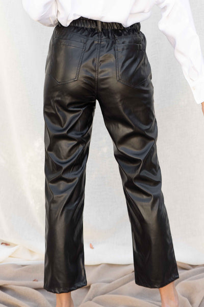 Faux Leather Paperbag Pants