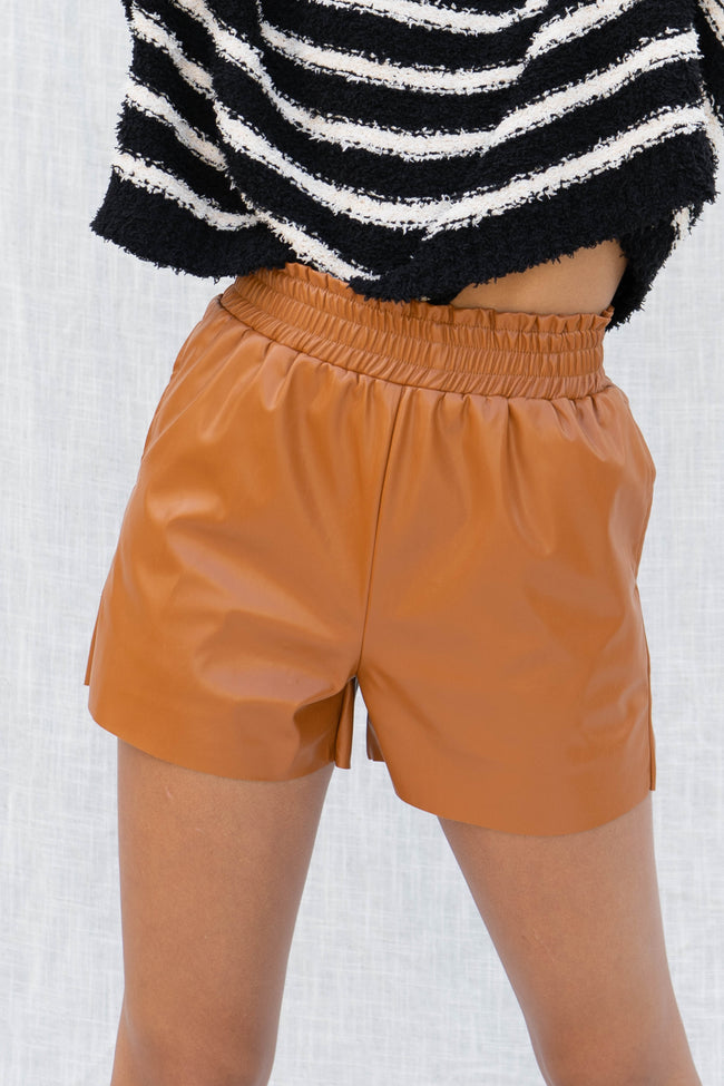City Paperbag Pu Leather Shorts