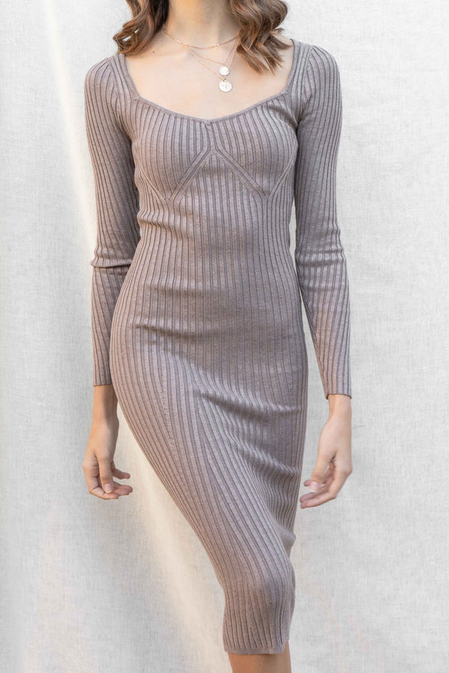 Paige Ribbed Long Sleeve Midi Dress
