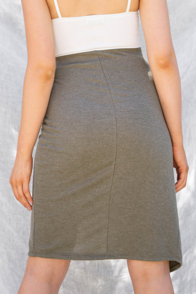 Safari Front Wrap Midi Skirt