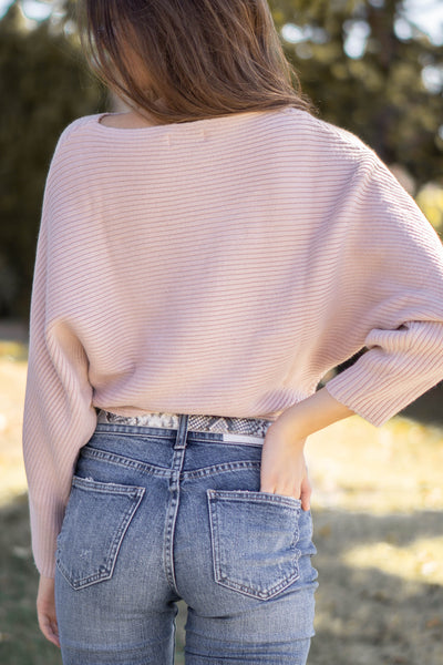 Lily Ribbed Boat Neck Sweater