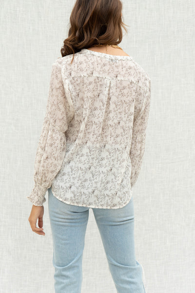 Val Creased Print Blouse