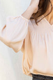 Aurora High Neck Smocked Blouse