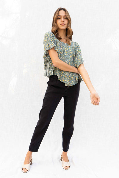 Celine Floral Wing Sleeve Top