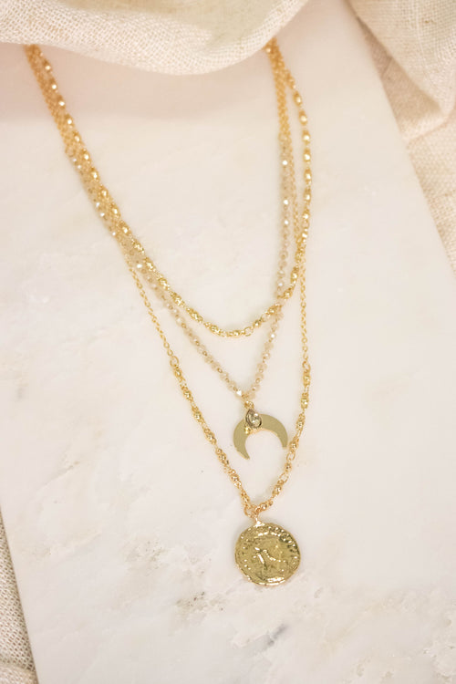 Layered Moon Coin Necklace