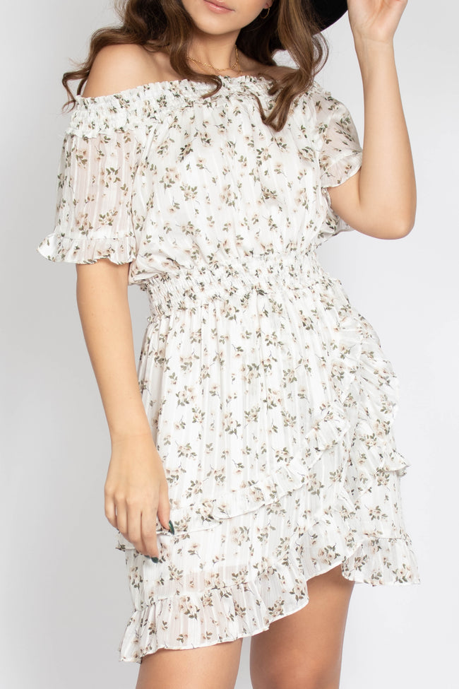 Lovely Floral Off Shoulder Dress