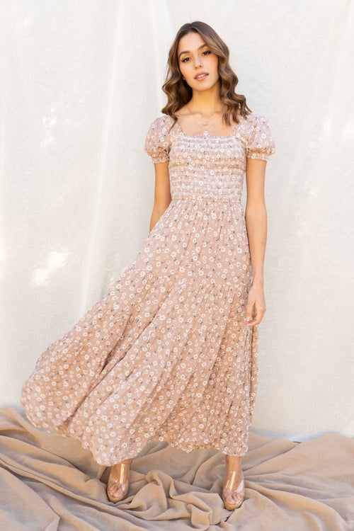 Alessa Smocked Floral Maxi Dress