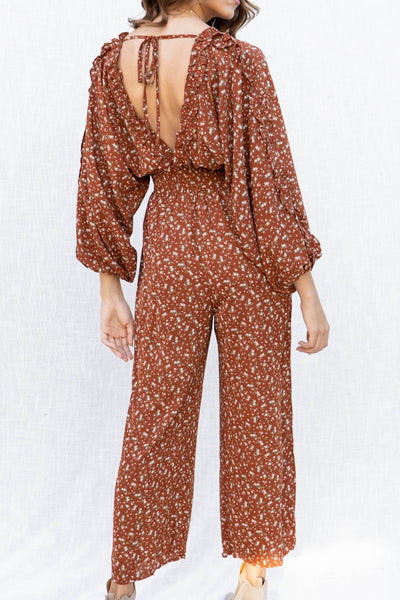 Rosalyn Printed Long Sleeve Jumpsuit