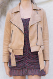 Suede Zipper Biker Jacket
