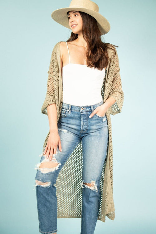Crochet Mesh Knit Duster