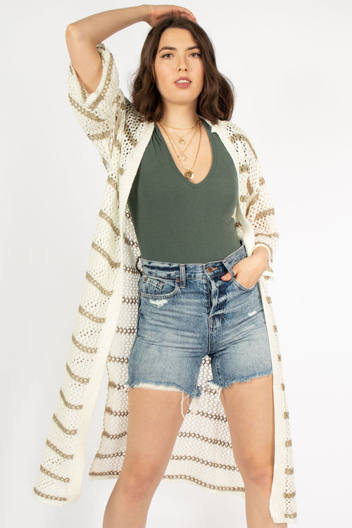 Lightweight Open Weave Long Cardigan