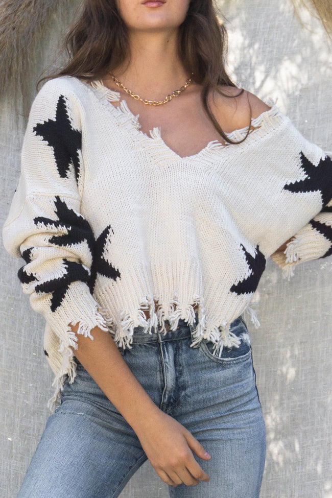 Star Destroyed Low Back Sweater Top