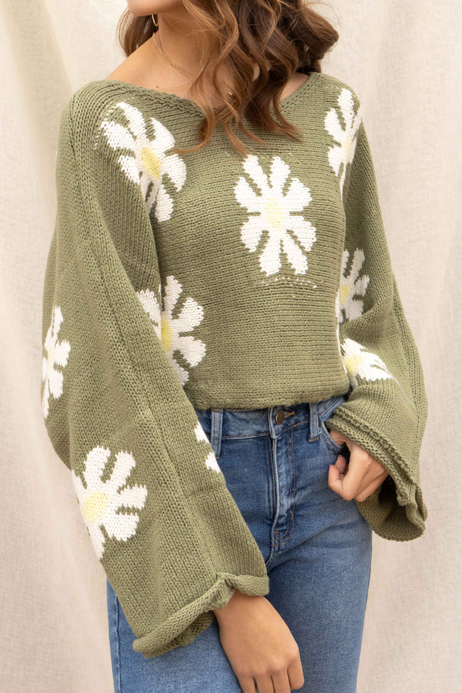 Green Floral Wide Sleeve Sweater