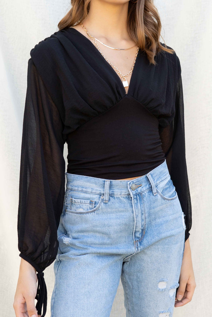 Hailey Chiffon Plunging Neck Top