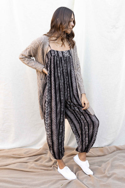 Striped Patchwork Printed Jumpsuit