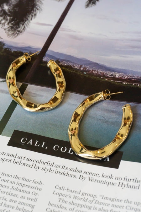 Metallic Pave Hoop Earrings
