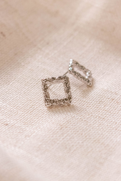 Textured Square Stud Earrings