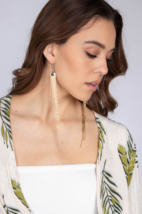 Flat Chain Fringe Earrings