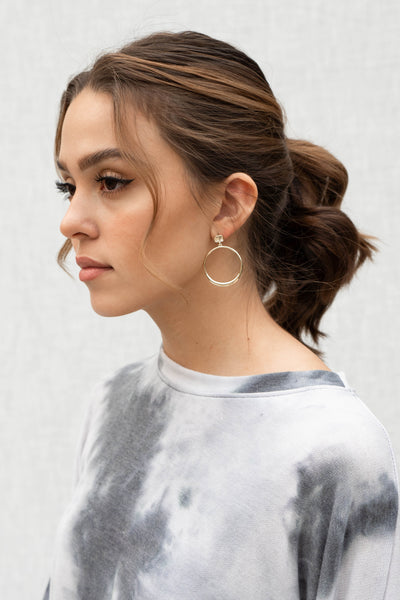 Chunky Hoop Drop Earrings