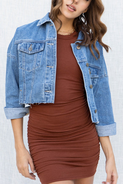 Raw And Ribbed Crop Denim Jacket
