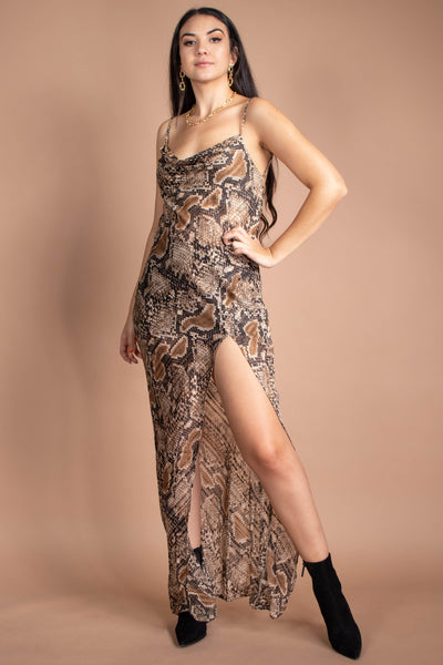 Taking Over Snake Print Dress