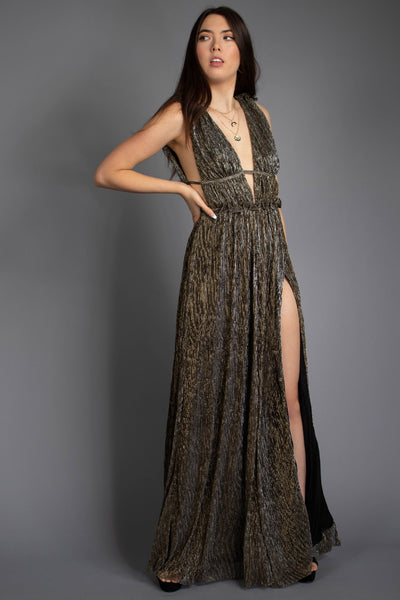 Bella Foilage Front Slit Dress