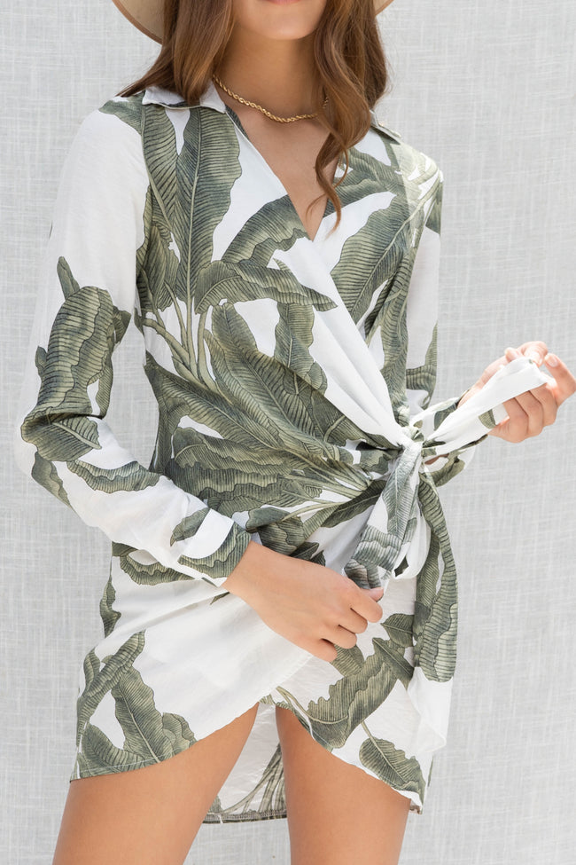 Palm Printed Wrap Mini Dress