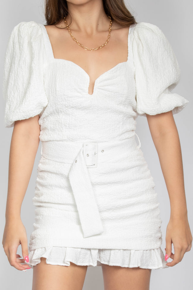 Textured Puff Sleeve Mini Dress