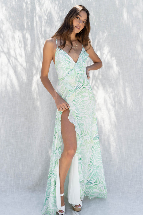 Pastel Zebra Ruffle Maxi Dress