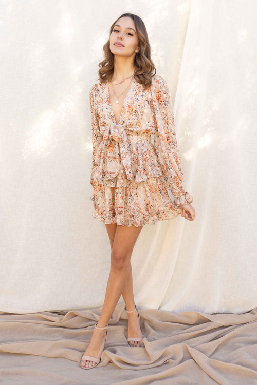 Fall Florals Front Tie Dress