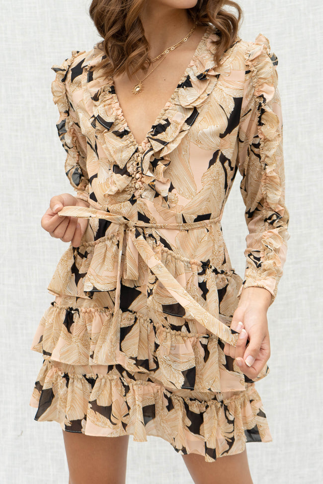 Fall Floral Ruffle Dress