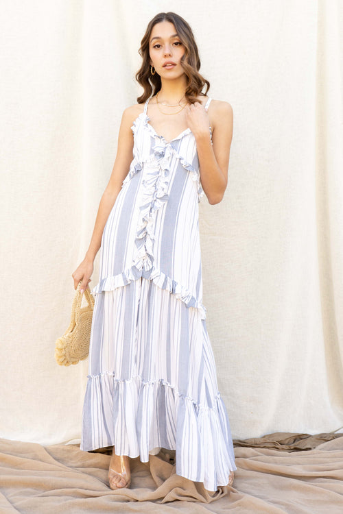 Bora Bora Stripe Ruffle Maxi Dress