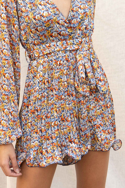 Multi Floral Pleated Romper